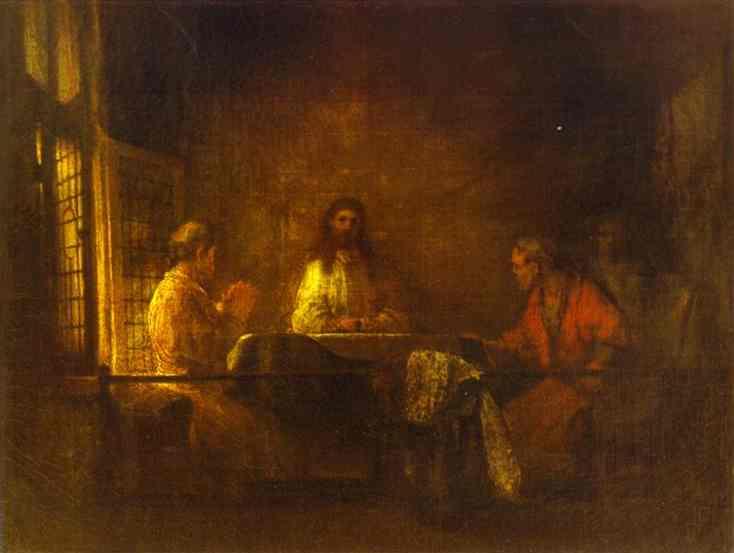 Los peregrinos de Emaús de Rembrandt Van Rijn (1606-1669 ...