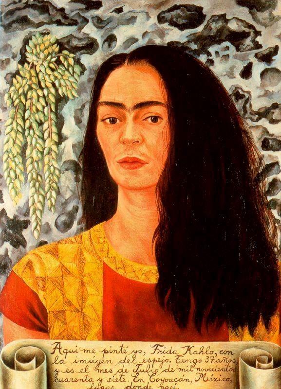 Autorretrato con el pelo suelto de Frida Kahlo (1907-1954, Mexico ...