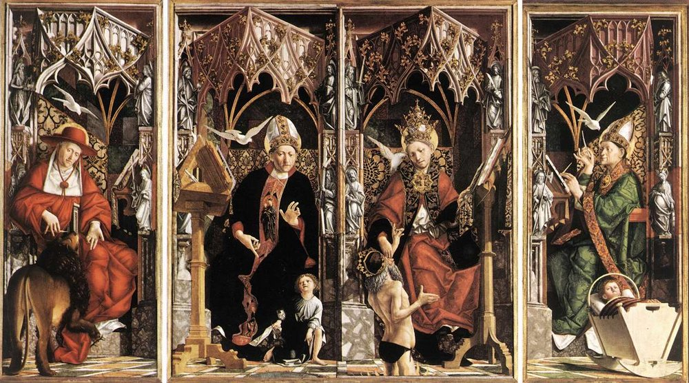 Teodosio. MICHAEL-PACHER-ALTARPIECE-OF-THE-CHURCH-FATHERS
