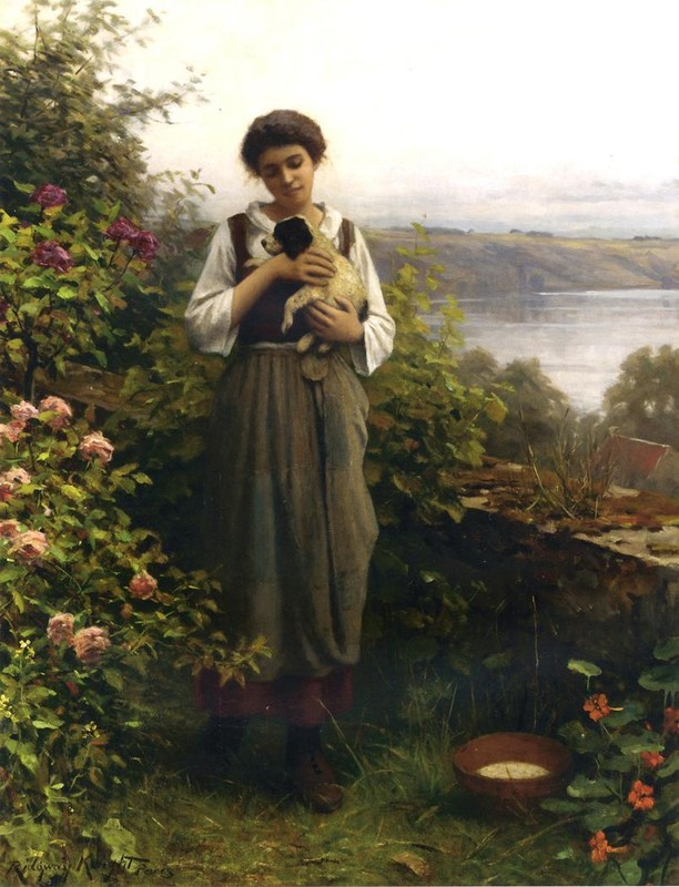 Daniel Ridgway Knight - muchacha joven sostener a perrito