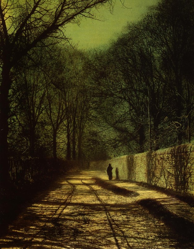 John Atkinson Grimshaw >> Tree Shadows on the Park Wall, Roundhay Park, Leeds  |  (oleo, obra de arte, reproducción, copia, pintura).