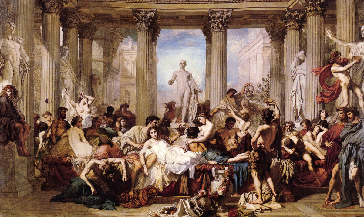 Thomas Couture >> The Romans of the Decadence  |  (oleo, obra de arte, reproducción, copia, pintura).