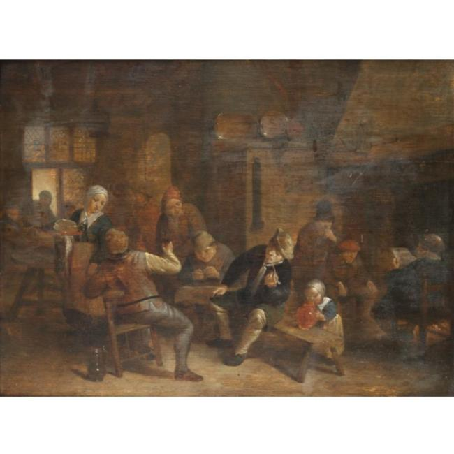 Adriaen van Ostade >> A Tavern Interior With Boors Smoking And Drinking  |  (aceite, obra de arte, reproducción, copia, pintura).