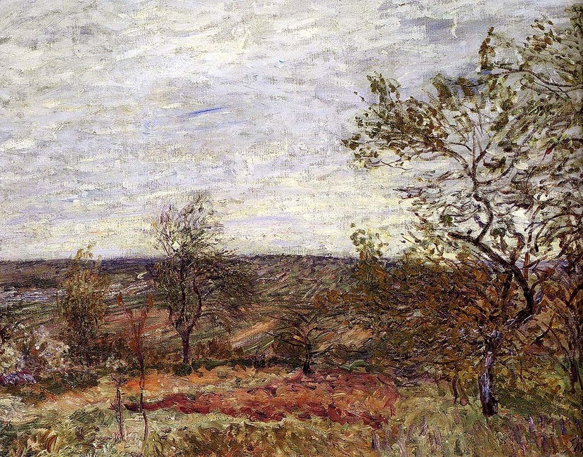 Alfred Sisley >> Windy Day At Veneux  |  (oleo, obra de arte, reproducción, copia, pintura).