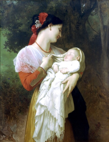 Admiración maternal, óleo de William Adolphe Bouguereau (1825-1905, France)