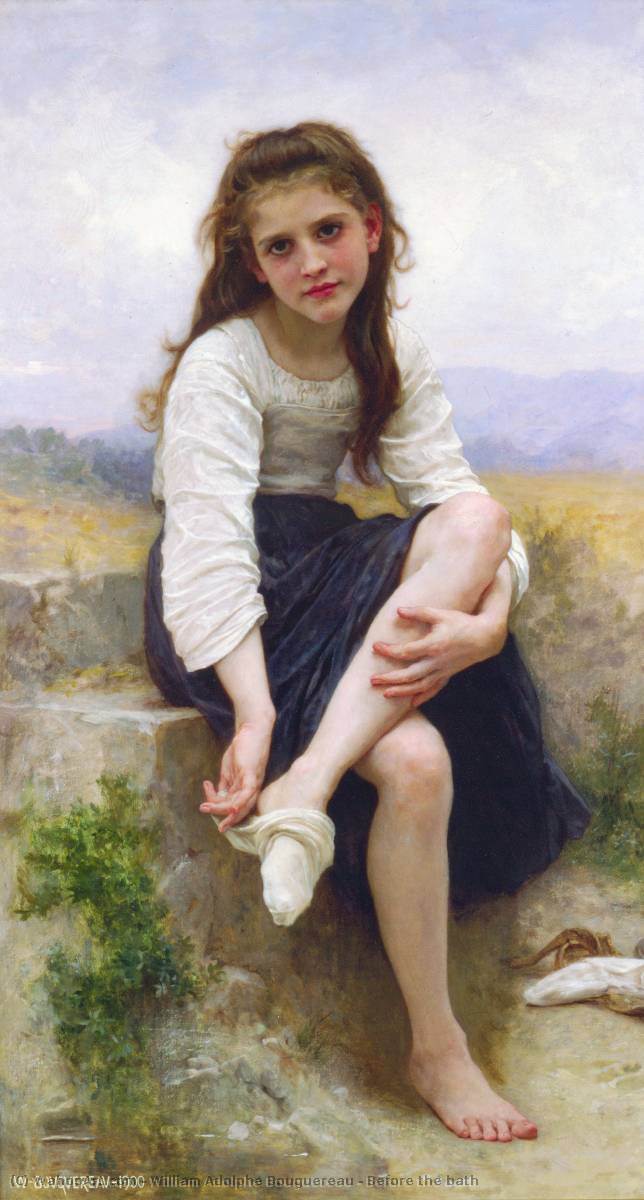 Antes del baño, aceite de William Adolphe Bouguereau (1825-1905, France)