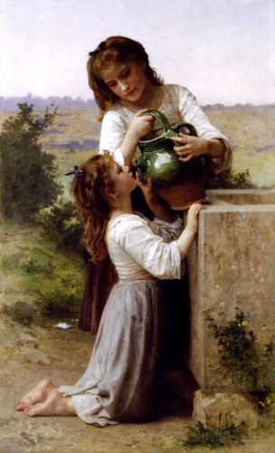 En la fuente de William Adolphe Bouguereau (1825-1905, France) | Copia De La Pintura | WahooArt.com