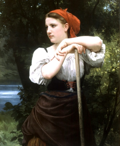 Faneuse, óleo de William Adolphe Bouguereau (1825-1905, France)