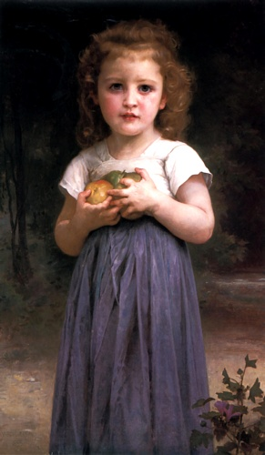 Maiden y Niños, aceite de William Adolphe Bouguereau (1825-1905, France)