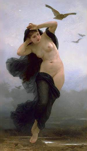 el noche, aceite de William Adolphe Bouguereau (1825-1905, France)