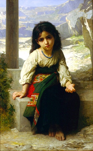 The Little Beggar, óleo de William Adolphe Bouguereau (1825-1905, France)