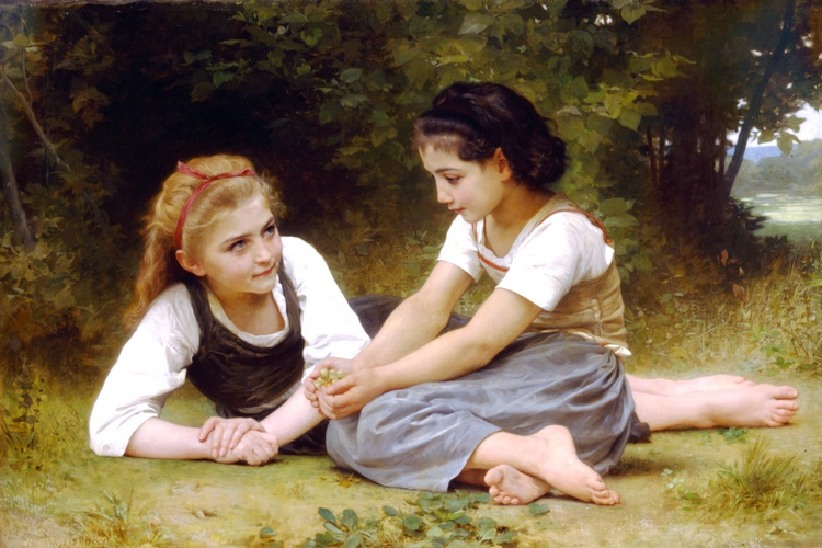 Avellanas, óleo de William Adolphe Bouguereau (1825-1905, France)