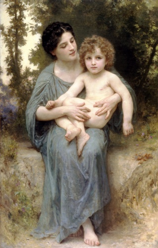El hermano menor, óleo de William Adolphe Bouguereau (1825-1905, France)