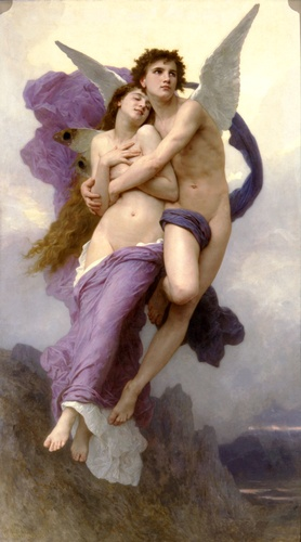 El éxtasis de la psique, óleo de William Adolphe Bouguereau (1825-1905, France)