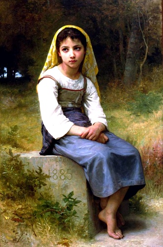 Meditación NB 1885, óleo de William Adolphe Bouguereau (1825-1905, France)