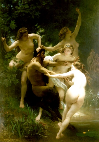 Nymphes y satyre de William Adolphe Bouguereau (1825-1905, France) | Reproducciones De Calidad Del Museo | WahooArt.com