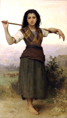 Pastorela, óleo de William Adolphe Bouguereau (1825-1905, France)