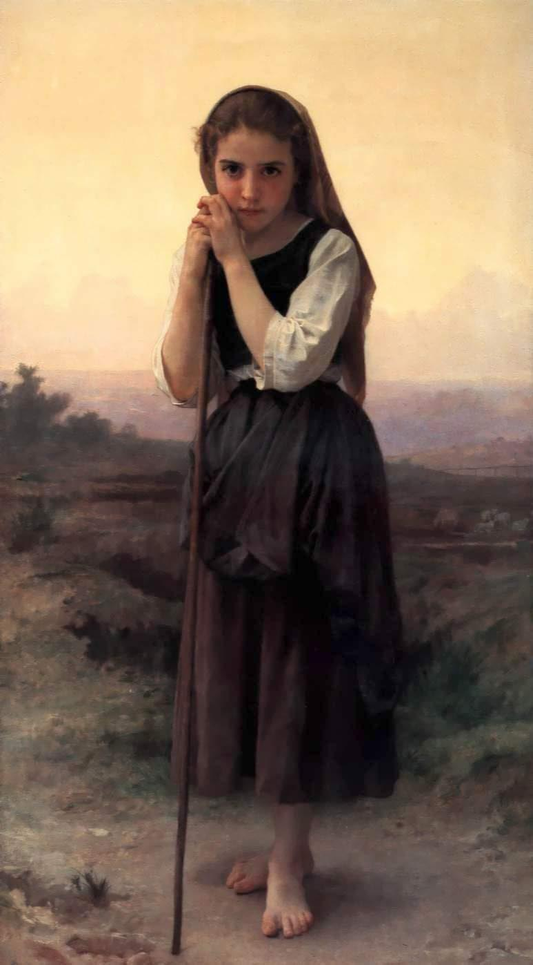 Poco Pastora, óleo de William Adolphe Bouguereau (1825-1905, France)