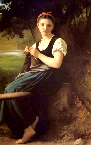 The Girl Knitting de William Adolphe Bouguereau (1825-1905, France) | WahooArt.com