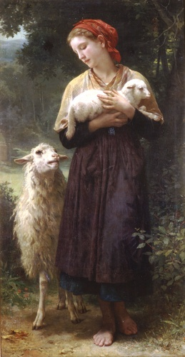 La Pastora 1873 165.1x87.6cm, óleo de William Adolphe Bouguereau (1825-1905, France)