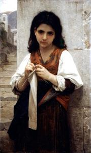 William Adolphe Bouguereau - Knitter 1879
