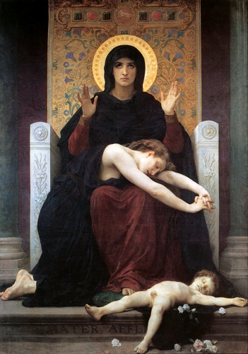 Edredón Virgen, aceite de William Adolphe Bouguereau (1825-1905, France)
