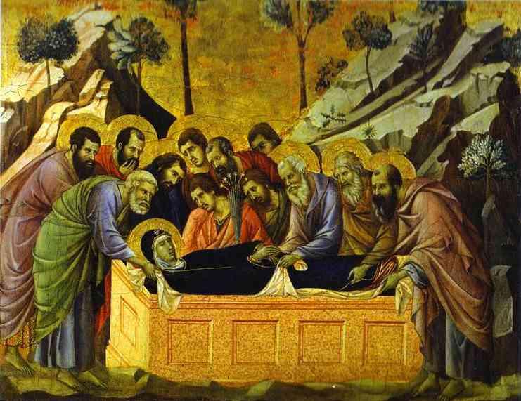 ASESINATO DE LAS NIÑAS DE ALCASSER - Página 3 Duccio+di+Buoninsegna+-+Maest%C3%93+(front+crowning+panels)+The+Entombment+of+the+Virgin+