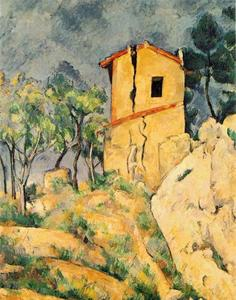 Paul Cezanne - la casa con `cracked` paredes