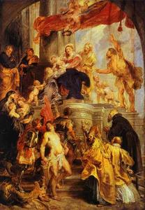 Peter Paul Rubens - Madonna y niño Enthroned enestado  los santos