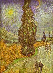 Vincent Van Gogh - camino con man walking , Carrige , Ciprés , star y crescend luna