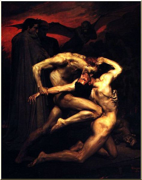 Dante y Virgilio en el infierno, aceite de William Adolphe Bouguereau (1825-1905, France)