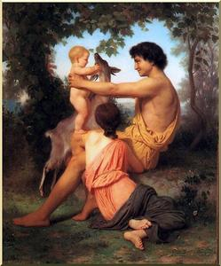 William Adolphe Bouguereau - Idilio familia  de  antigüedad