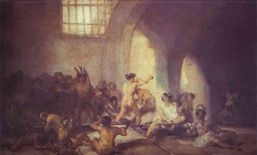 El Madhouse, aceite de Francisco De Goya (1746-1828, Spain)