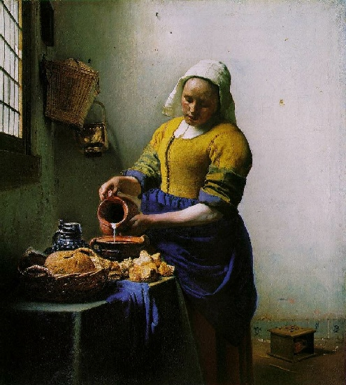 La lechera do  1658-60  , aceite de Jan Vermeer (1632-1675, Netherlands)