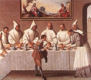 Francisco Zurbaran - San . hugo de grenoble en el Cartujo Refectorio