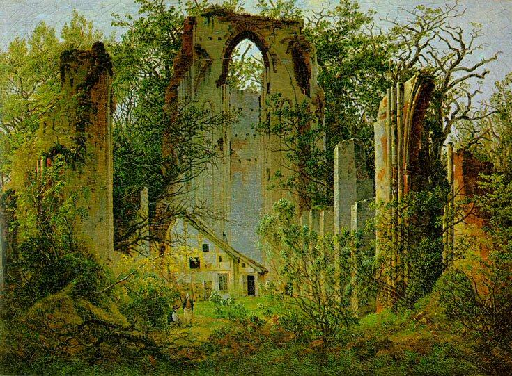 Las Ruinas de Eldena Abbey1  , aceite de Caspar David Friedrich (1774-1840, Germany)