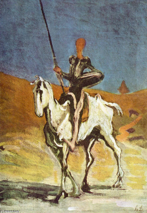Don Quichotte und Sancho Pansa, óleo de Honoré Daumier (1808-1879, France)