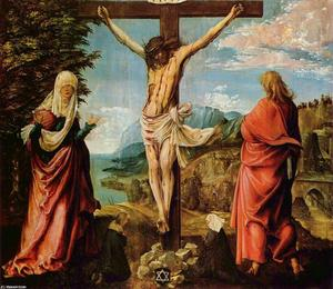 Albrecht Altdorfer - Crucifixion scene ,  Christ on la cruz with Mary y john