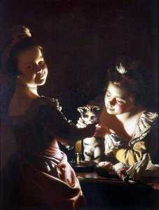 Joseph Wright Of Derby - Dos chicas vestir un gatito de Candlelight