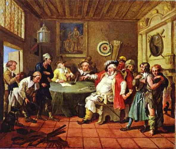 Falstaff que examina a sus reclutas, óleo sobre lienzo de William Hogarth (1697-1764, United Kingdom)