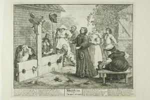 William Hogarth - Hudibras en tribulación, placa de seis de Hudibras