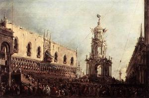 Francesco Lazzaro Guardi - Carnaval Jueves en la Piazzetta
