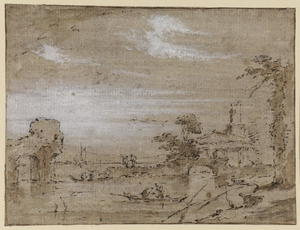 Francesco Lazzaro Guardi - Laguna capriccio (recto)