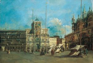 Francesco Lazzaro Guardi - San . Mark's Plaza Venecia con el Torre del reloj