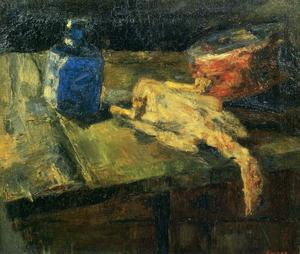 James Ensor - Flacon bleu et poulet