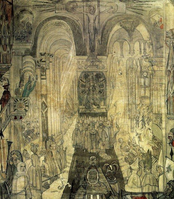 Soudards penitentes dans une cathedrale, óleo de James Ensor (1860-1949, Belgium)