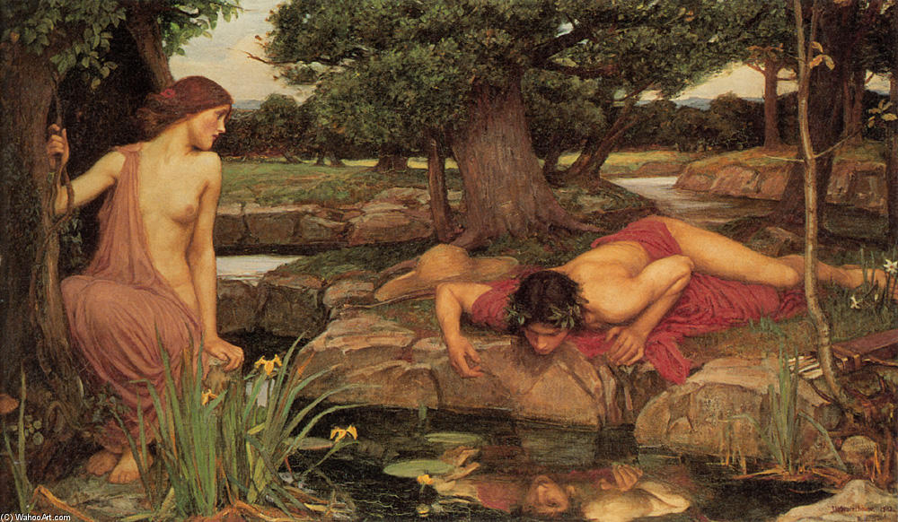 Eco y Narciso, 1903 de John William Waterhouse (1849-1917, Italy) | Reproducciones De Bellas Artes John William Waterhouse | WahooArt.com