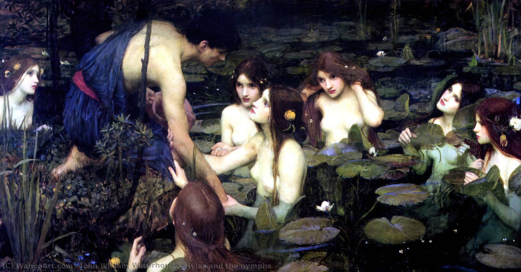 Hylas y las ninfas, aceite de John William Waterhouse (1849-1917, Italy)