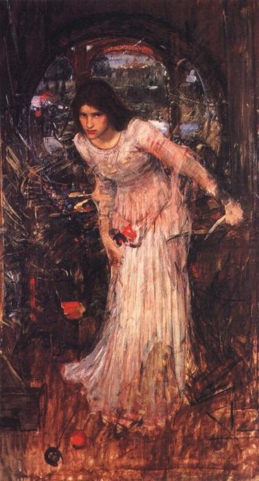 La señora de Shalott estudio, aceite de John William Waterhouse (1849-1917, Italy)