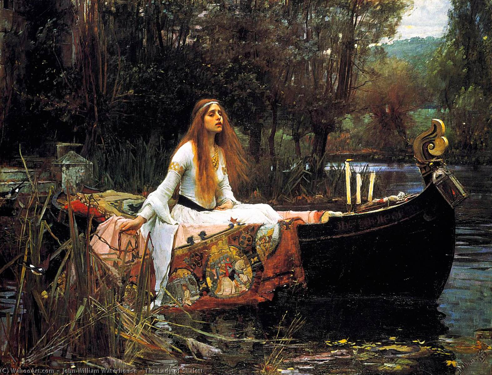 La Dama de Shalott, aceite de John William Waterhouse (1849-1917, Italy)